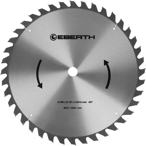 Professional TCT Circular Saw Blade for Wood Cuts (40 teeth, 450 mm diameter, bore 30 mm, blade thickness 2.5 mm, cutting width 3.5 mm, rpm max. 3500)