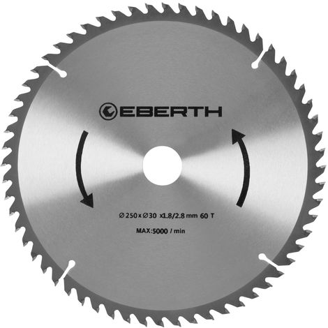 Professional TCT Circular Saw Blade for Wood Cuts (60 teeth, 250 mm diameter, bore 30 mm, blade thickness 1.8 mm, cutting width 2.8 mm, rpm max. 5000)