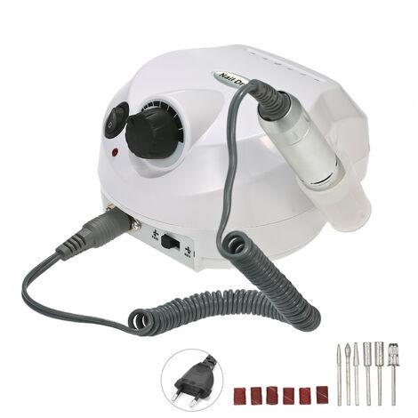 Professionelle elektrische Nagel-Bohrgerat-Maschine 30000RPM E-Datei elektrische Nagelfeile Grinder Polierer Kit Manikure Pedicure Bohrgerat fur Acryl Gel-Nagel EU-Stecker Wei?