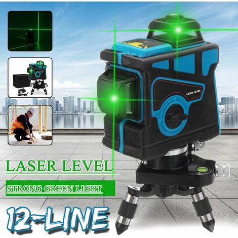 Professionnel 12 lignes 360 ° tournez le niveau Laser auto-nivelant forte lumière verte 3D dispositif de mesure de ligne de faisceau