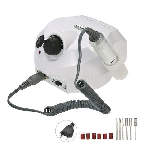 Professionnel Electrique Nail Drill Machine 30000Rpm E-File Electrique Lime A Ongles Grinder Polisseuse Kit Manucure Pedicure Drill Pour L'Acrylique Gel Nails Eu Plug Blanc