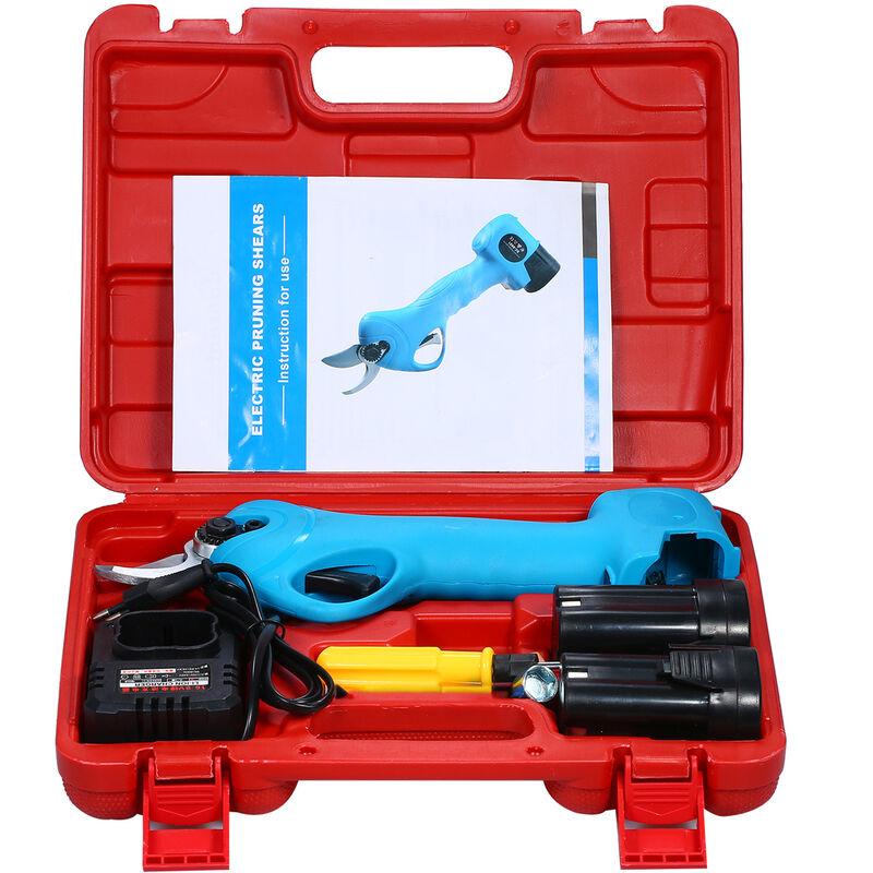 Asupermall - Professionnel Electrique Sans Fil Secateur Avec 2 Pack De Secours Rechargeable Au Lithium 2Ah Alimente Par Batterie Arbre Branche