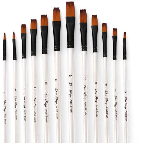 Professionnel Set Pinceaux Peinture Cheveux Brosse En Nylon Fine Detail Aquarelle Huile Peinture Acrylique Lot De 12Pcs Fournitures D'Art Peinture, Blanc Nacre, Plat