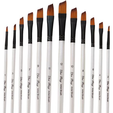 Professionnel Set Pinceaux Peinture Cheveux Brosse En Nylon Fine Detail Aquarelle Huile Peinture Acrylique Lot De 12Pcs Fournitures D'Art Peinture, Blanc Perle, Oblique