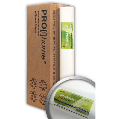 Profhome wall liner 150 g non-woven lining paper smooth paintable wallpaper white 4 rolls 807 sq ft (75 sqm)