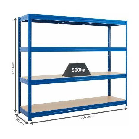 Profi Schwerlastregal | Extra breit | 500 kg pro Fachboden | 1770 x 2000 x 600