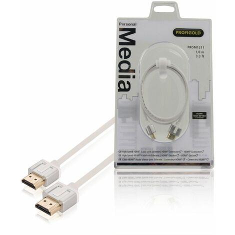 Profigold Cable HDMI macho - macho con Ethernet, longitud de 1 metro, doble blindaje, imagen 4K y 3D superior