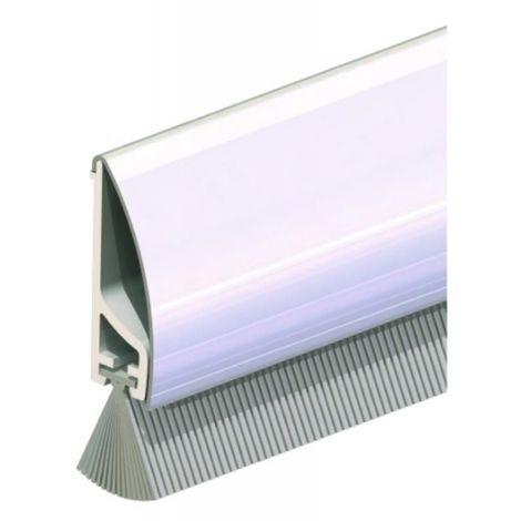 Profil de bas de porte en PVC, habillage inox avec brosse en 1 ml