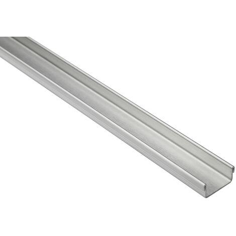Profil en U 15 mm   rails en acier inoxydable pour carrelage - argent brossé   pack économique de l'UE