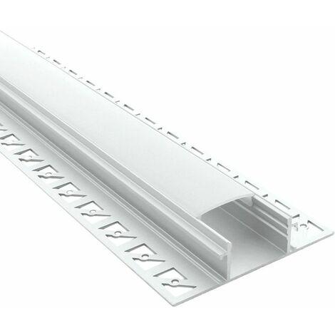 Profilé à encastrer pour ruban LED large (craft E12) | Diffuseur Givré - Longueur du profilé 1 m