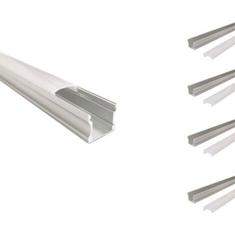 Profilé Aluminium 1m pour Ruban LED - Couvercle Opaque (Pack de 5) - SILAMP