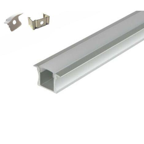 Profilé aluminium 5 Mètres encastrable avec ailettes ( 5 x 1 mètre ) avec diffuseur opaque aspect néon.