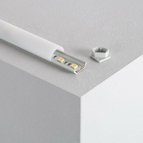 Profilé Aluminium Angle 1m avec Capot Rond pour Rubans LED Translucide - Translucide