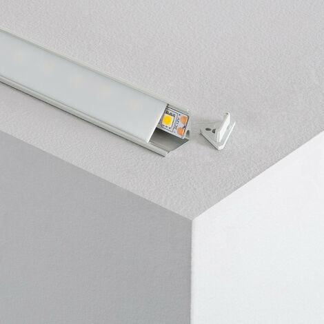 Profilé Aluminium Angle Deux Projections 1m pour Rubans LED Translucide - Translucide
