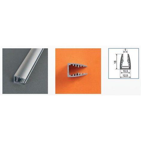 Profilé aluminium anodisé LED GLASS 2000 mm pour bandeau LED