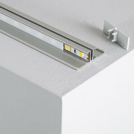 Profilé Aluminium Double Moulure 1m pour Rubans LED Translucide - Translucide
