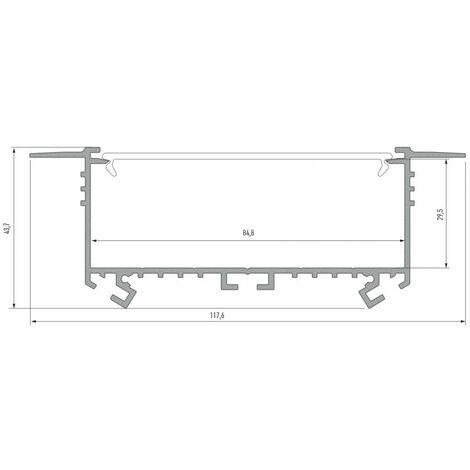 Profilé Aluminium Encastrable 118x45mm 2m Sans Diffuseur CLAREO