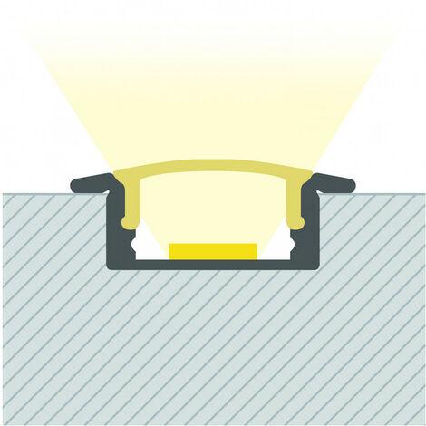 Profilé Aluminium Encastrable avec Capot Continu pour Ruban LED sur Mesure