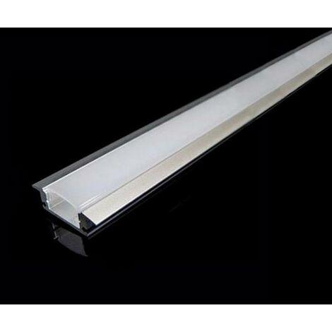 Profilé Aluminium encastré 2m avec Couvercle Blanc Opaque - SILAMP
