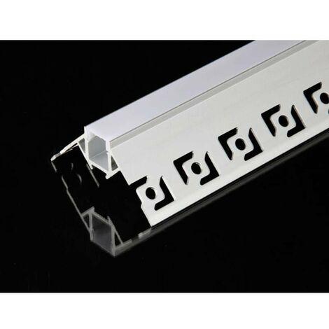 Profilé Aluminium encastré angulaire 1m pour Ruban LED Couvercle Blanc Opaque - SILAMP