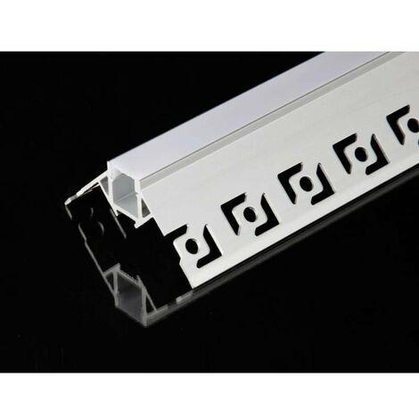 Profilé Aluminium encastré angulaire 2m pour Ruban LED Couvercle Blanc Opaque - SILAMP