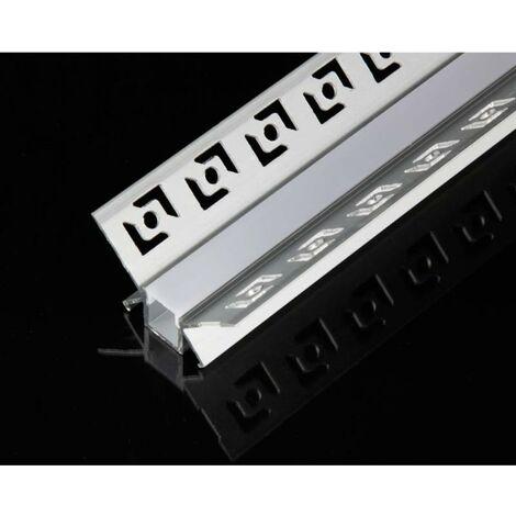 Profilé Aluminium encastré d'angle 1m pour Ruban LED Couvercle Blanc Opaque - SILAMP