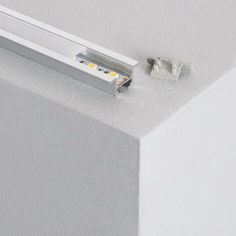 Profilé Aluminium Encastré Plafond avec Clips 1m pour Rubans LED Aluminium - Aluminium