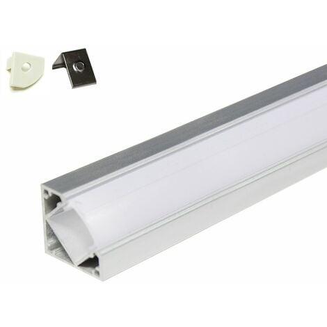 Profilé aluminium pour angle 45° - 5 mètres (5 x 1 mètre) avec diffuseur opaque