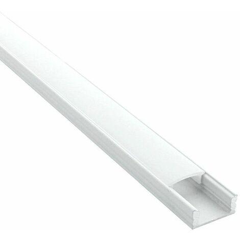 Profilé aluminium pour ruban LED - CRAFT - C06 Blanc | Diffuseur Givré - Longueur du profilé 2 m - Finition Blanc