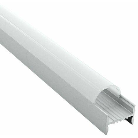 Profilé arc en applique pour ruban LED aluminium + diffuseur (Craft C04) | Diffuseur Givré - Longueur du profilé 2 m - Finition Aluminium - Pour taille de ruban (en mm) 16