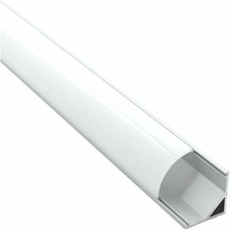 Profilé d'angle pour ruban LED en aluminium + diffuseur (Craft A01) | Diffuseur Givré - Longueur du profilé 1 m