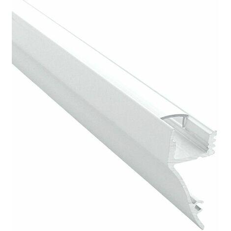 Profilé de corniche en aluminium laqué blanc pour ruban LED - Craft (M01) | Diffuseur Transparent - Longueur du profilé 2 m