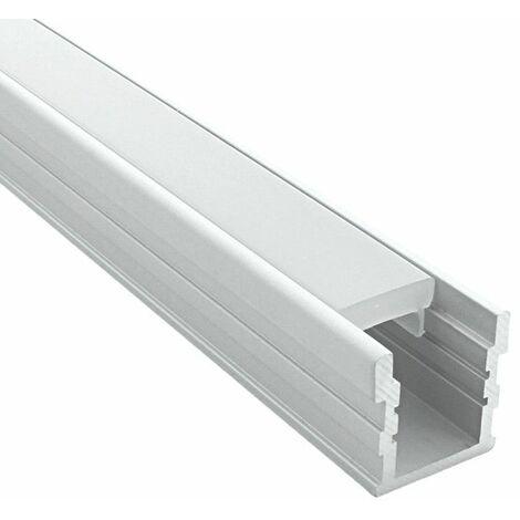 Profilé de sol renforcé pour ruban LED (craft F03) | Diffuseur Givré - Longueur du profilé 2 m - Finition Aluminium - Pour taille de ruban (en mm) 17