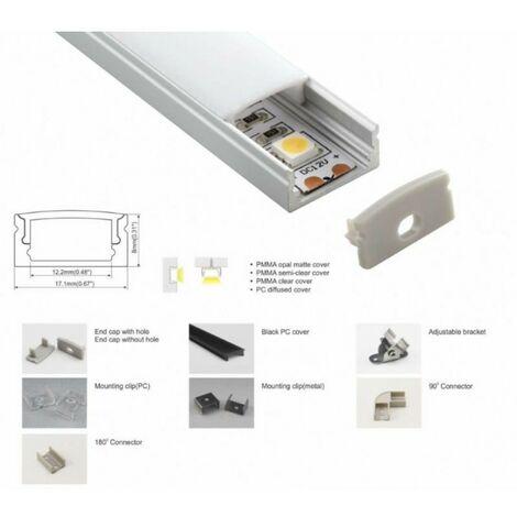 Profilé en aluminium de surface 17x8mm