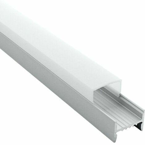 Profilé en applique pour ruban LED aluminium + diffuseur (Craft C05) | Diffuseur Givré - Longueur du profilé 2 m - Finition Aluminium - Pour taille de ruban (en mm) 16