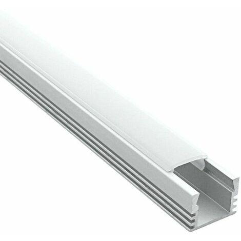 Profilé en applique pour ruban LED + diffuseur (Craft C02) | Diffuseur Givré - Longueur du profilé 2 m - Finition Aluminium - Pour taille de ruban (en mm) 11