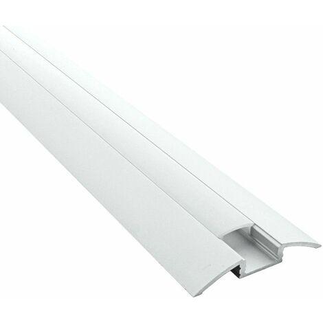 Profilé en applique pour ruban LED en aluminium + diffuseur (Craft C07) | Diffuseur Givré - Longueur du profilé 1 m - Finition Aluminium