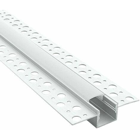 Profilé encastrable à plâtrer pour ruban LED + diffuseur givré (craft E15) | Longueur du profilé 2,95 m
