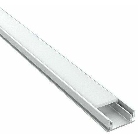 Profilé encastrable au sol et mur pour ruban LED + diffuseur (Craft F01) | Diffuseur Givré - Longueur du profilé 1 m - Finition Aluminium - Pour taille de ruban (en mm) 11