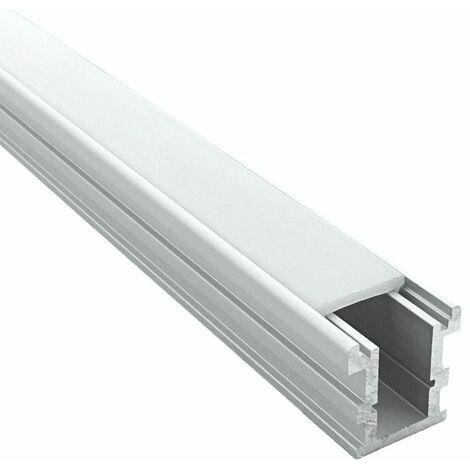 Profilé encastrable au sol pour ruban LED - Craft (F02)   Diffuseur Givré - Longueur du profilé 1 m - Pour taille de ruban (en mm) 12 - Finition Aluminium