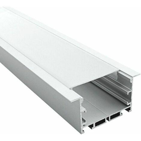 Profilé encastrable large 65mm pour ruban LED - aluminium (craft E10) | Diffuseur Givré - Longueur du profilé 1 m - Finition Aluminium
