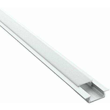 Profilé encastrable pour ruban LED en aluminium + diffuseur (Craft E01)   Diffuseur Givré - Longueur du profilé 2,95 m - Finition Aluminium - Pour taille de ruban (en mm) 11