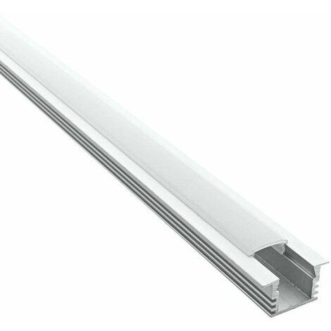 Profilé encastrable pour ruban LED en aluminium + diffuseur (Craft E02) | Diffuseur Givré - Longueur du profilé 1 m - Finition Aluminium - Pour taille de ruban (en mm) 11