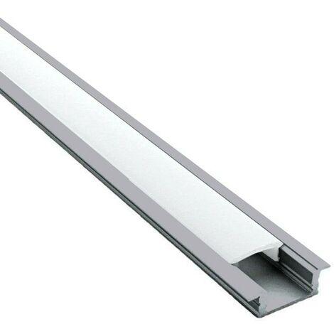 Profilé encastrable pour ruban LED en aluminium + diffuseur (Craft E03) | Diffuseur Givré - Longueur du profilé 1 m - Finition Aluminium - Pour taille de ruban (en mm) 11