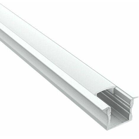 Profilé encastrable pour ruban LED en aluminium + diffuseur (Craft E04) | Diffuseur Givré - Longueur du profilé 2 m - Finition Aluminium - Pour taille de ruban (en mm) 11