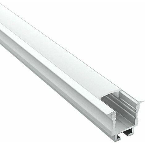 Profilé encastrable pour ruban LED en aluminium + diffuseur (Craft E05) | Diffuseur Givré - Longueur du profilé 2,95 m