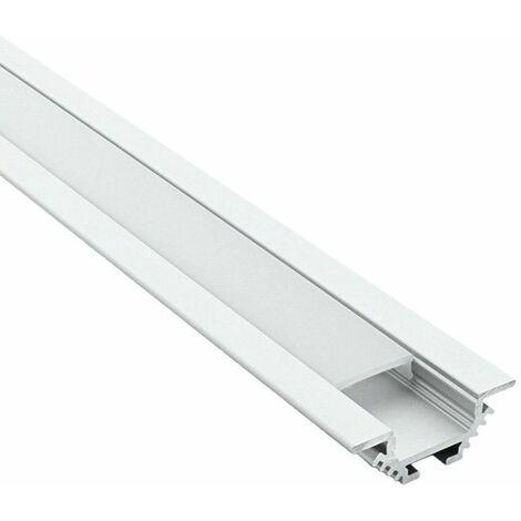 Profilé encastré d'angle pour ruban LED - aluminium (craft E11) | Diffuseur Givré - Longueur du profilé 2,95 m - Finition Aluminium