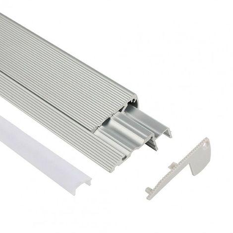 Profilé LED d'escalier / nez de marche - Série S60 - 1,5 mètre - Aluminium - Diffuseur opaque - Aluminium noir