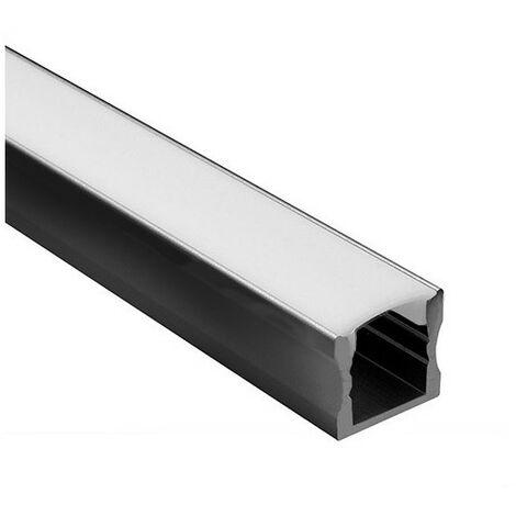 Profilé LED noir - Série U15 - 1,5 mètre - Diffuseur opaque type 1