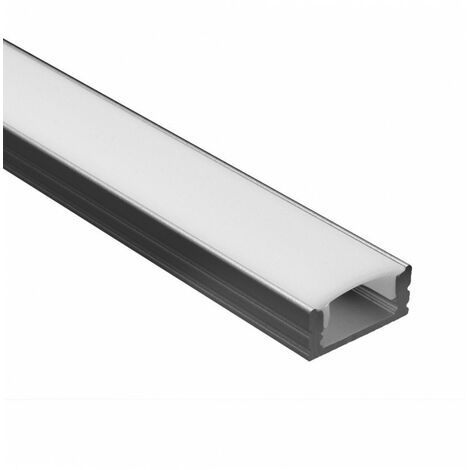 Profile Led - Serie U07 - 1,5 metres - Noir - Diffuseur opaque - Noir